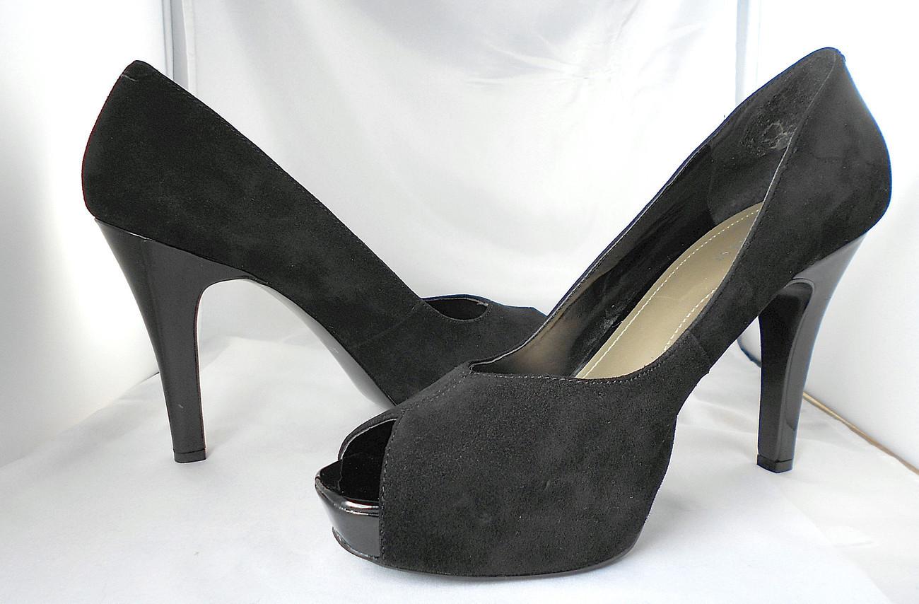 Nine West Black Suede Platform Pumps - Shoes - Open Peep Toe - High Heels - 9M