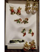 5 Pairs Christmas Earrings - Snowmen Ornaments Bells Candy Canes Stockings - $9.99