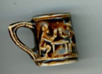 Primary image for Rockingham pottery brown mug miniature vintage stein