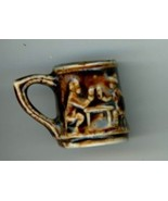 Rockingham pottery brown mug miniature vintage stein - $7.00