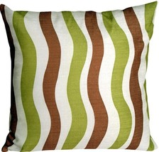 Pillow Decor - Country Stripes Green and Brown 20x20 Throw Pillow - $29.95