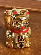 Estate Small Gilt Painted Asian Chinese Waving  Kitty Cat Ceramic Figuri... - $9.49