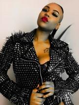 Handmade Women Black Studded Punk Style Leather Jacket - $364.79+