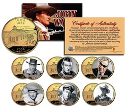 JOHN WAYNE MOVIES 24K Gold Plated Iowa Quarters 6-Coin Set LICENSED Stag... - $19.75