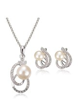 Exclusive Design Hollow Out Imitation Pearl Pendant Jewelry Set - $7.99