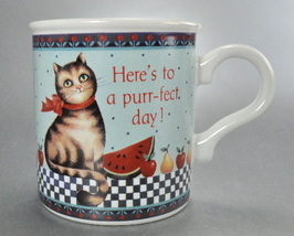 Heres To a Purrfect Day Kitty Tabby Cat Coffee Mug Cup - $6.75