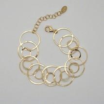 BRACELET 925 SILVER LAMINA GOLD CIRCLES WORKED BY MARY JANE IELPO MADE I... - $123.94