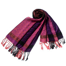 Pink Lovely Little Flower Patterns & Stripe Pashmina  - $12.99