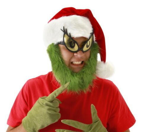 Primary image for Dr. Seuss How The Grinch Stole Christmas Grinch Santa Hat with Beard NEW UNWORN