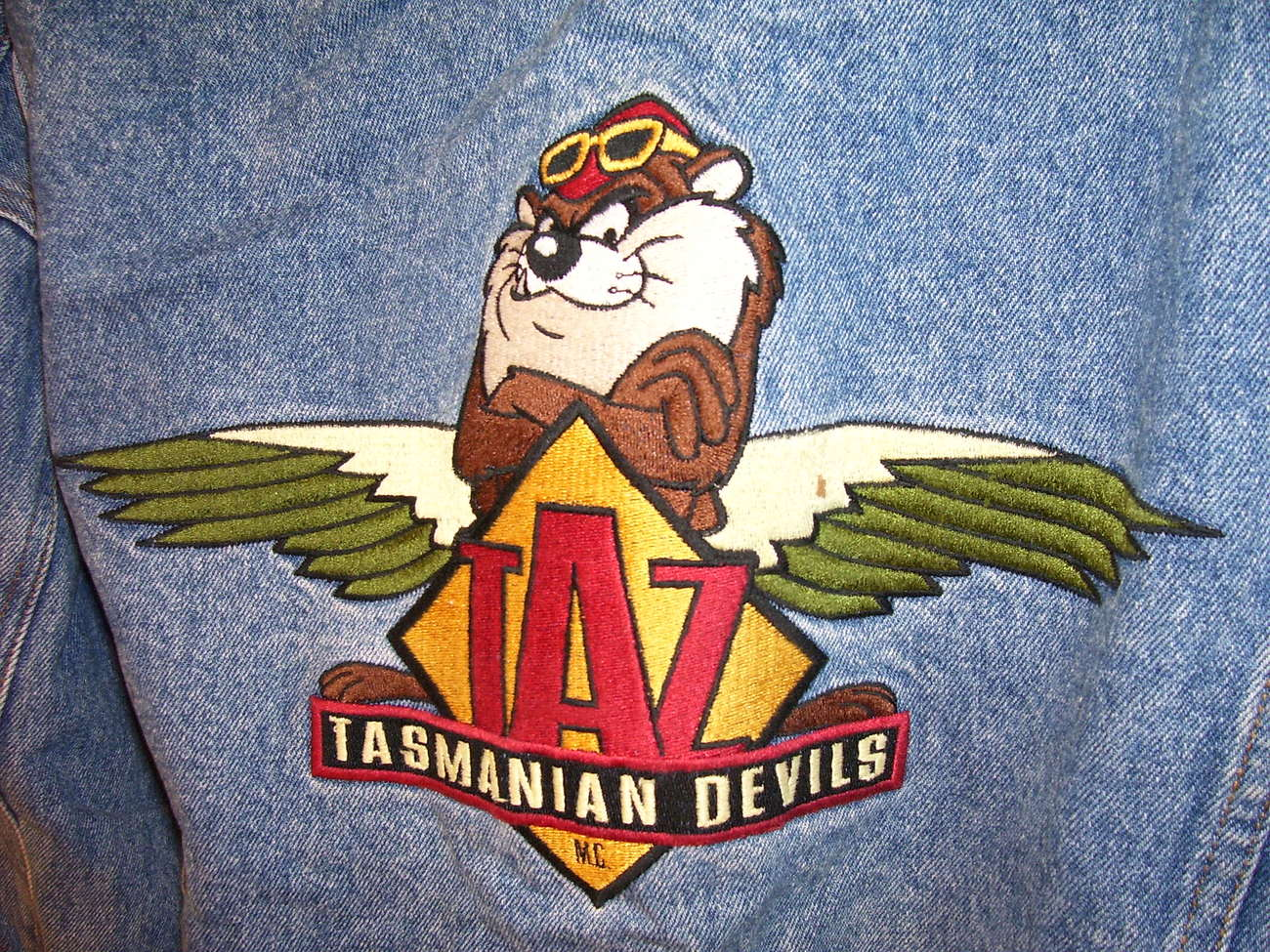 Acme Looney Tunes Taz Tasmanian Devils MC Denim Jacket Adult M Harley Buttons