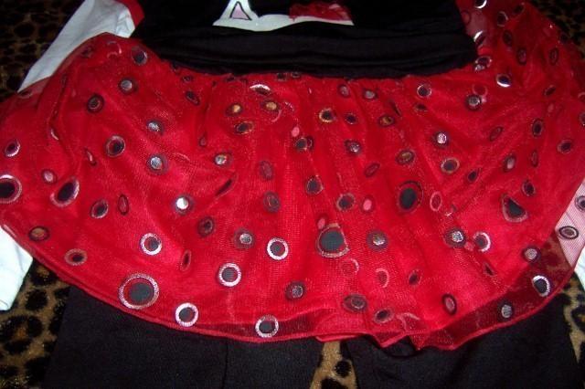 22nd Street 2 Piece Girls Pant Set Cat Tutu Pants Black Red Valentine 5T NWT