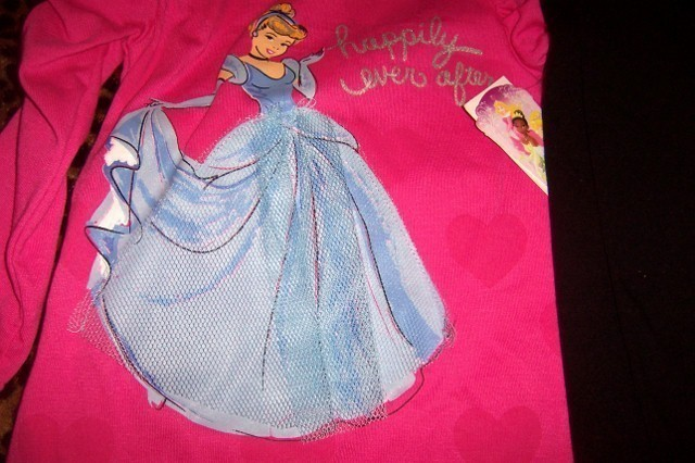 Disney Girls Cinderella 2 Piece Pant Set Valentine Pink SZ 2T Hearts NEW