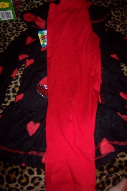 Sweet Minnie Mouse Girls 2 Piece Pant Set 5T Hoodie Hearts NWT Black Red