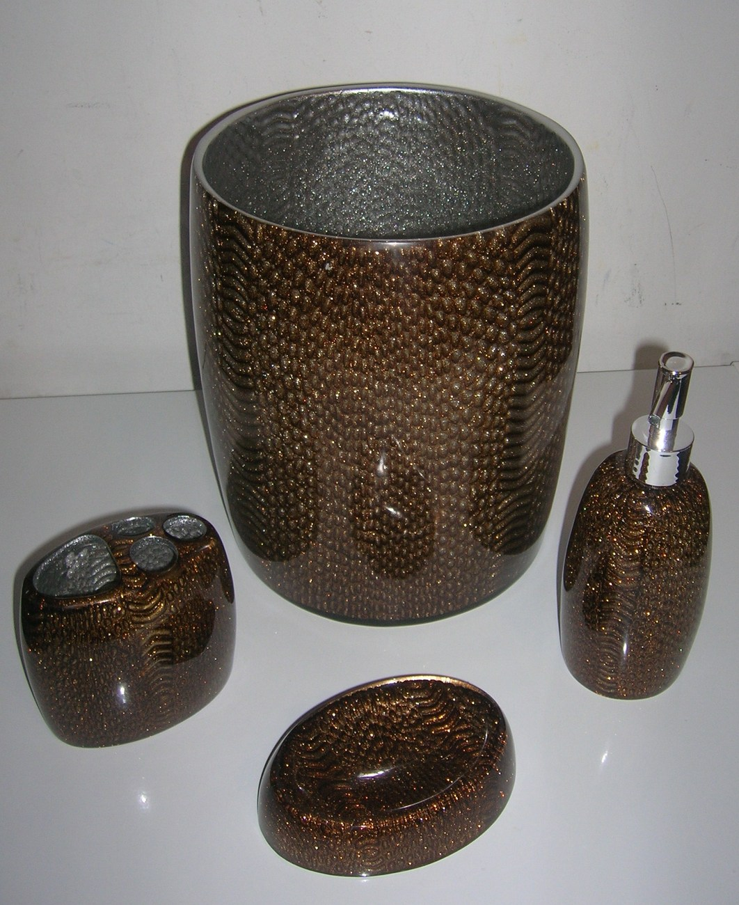 4pc bathroom set bathroom accessories brand new in brown for Brown and white bathroom accessories
