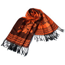 Dark Orange Base Peony Flowers Patterns Woven Pashmina - $14.99