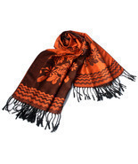 Dark Orange Base Peony Flowers Patterns Woven Pashmina - £11.59 GBP