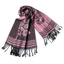 Pink Base Peony Flowers Patterns Soft Woven Pashmina - $14.99