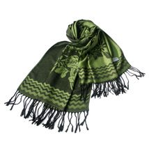 Green Base Peony Flowers Patterns Woven Pashmina - $14.99