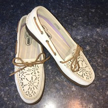 Sperry Top-Sider Ivory Perforated Leather Loafer Boat Shoe, Women Size 9m - $35.00