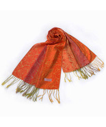 Bright Orange Special Flowers Pattern Woven Pashmina - $12.99