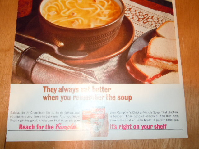 Vintage Campbell's Chicken Noodle Soup Print Magazine Advertisement 1965 image 2