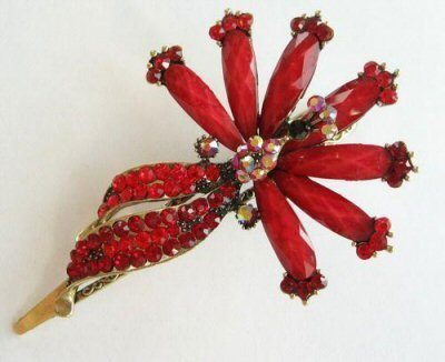 """Austrian Crystal Hair Claw Clip """"Fernella"""" Red free organza bag"""