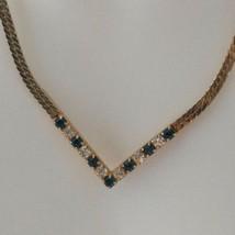 Avon Chevron Necklace Vtg 80s Faux Sapphire Rhinestone Good Tone Herring... - $16.99