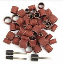 63pcs 80Grit Drum Sanding Kit 1/2 3/8 1/4 Inch Sand Mandrels Fit Dremel Nail Dri - $4.95