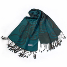 Sea Blue Huge Rose Flora Elegant Soft Tassel Ends Pashmina - $14.99