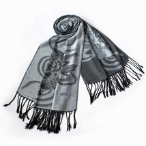 Lt-Grey Huge Rose Flora Elegant Noble Tassel Ends Pashmina - $14.99