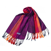 Multi-Colors Rose & Paisley National Tassel Ends Pashmina - $12.99