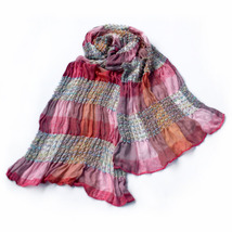 Pink Checks Arcadian Style Silky Woven Tassel Ends Pashmina - $12.99