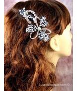 """Austrian Crystal Hair Claw Clip """"Flora"""" Sapphire Clear Black free organ... - $16.75"""