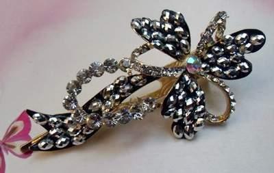 """Austrian Crystal Hair Claw Clip """"Flora"""" Sapphire Clear Black free organza bag"""