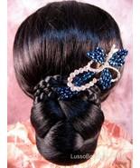 """Austrian Crystal Hair Claw Clip """"Flora"""" Sapphire Blue free organza bag - $16.75"""
