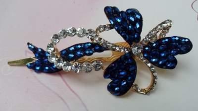 """Austrian Crystal Hair Claw Clip """"Flora"""" Sapphire Blue free organza bag"""