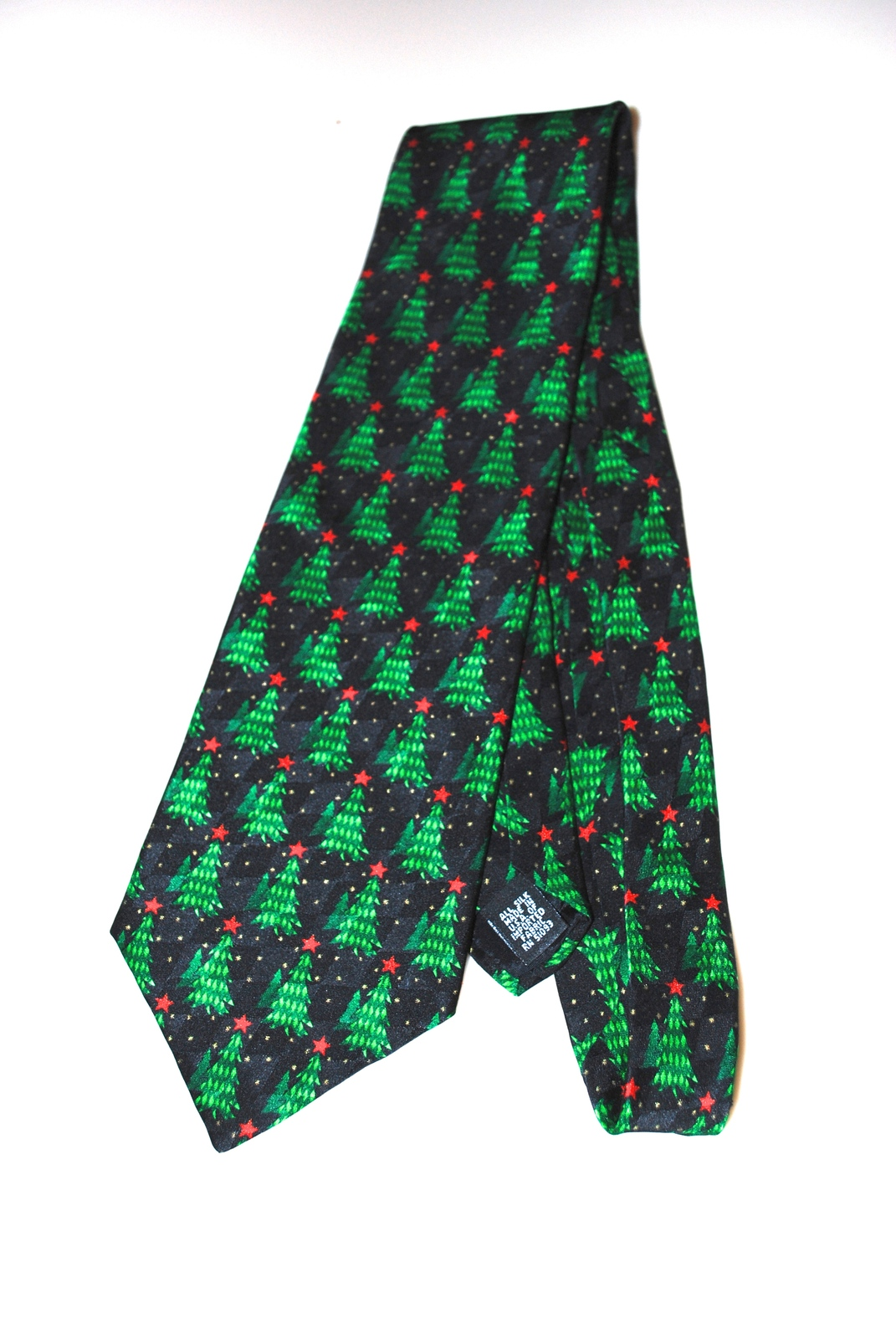 Holiday Traditions Hallmark Cards Christmas Tree Silk Tie Blue Red Star