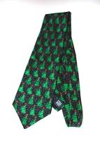 Holiday Traditions Hallmark Cards Christmas Tree Silk Tie Blue Red Star - $11.95