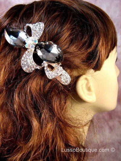 "Austrian Crystal Hair Claw Clip ""Pheobe"" Gray Clear free organza bag"