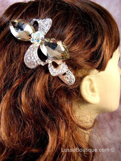 """Austrian Crystal Hair Claw Clip """"Pheobe"""" Light Topaz Brown free organza bag"""