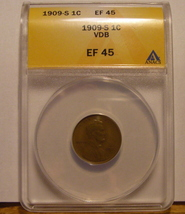 Rare Brown 1909 - S VDB Lincoln Wheat Cent  ANACS Certified Authentic (EF45) Key image 3
