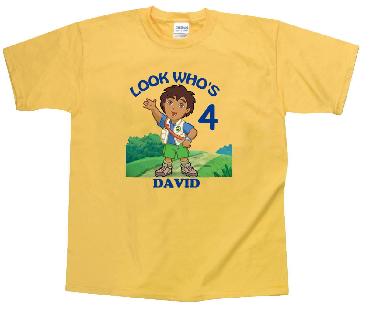 Primary image for Personalized Custom Go Diego Go Yellow Birthday T-Shirt Gift Add Name