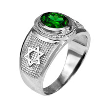 Sterlingsilber Stern von David May Geburtsstein Smaragd Grün CZ Ring - $49.99