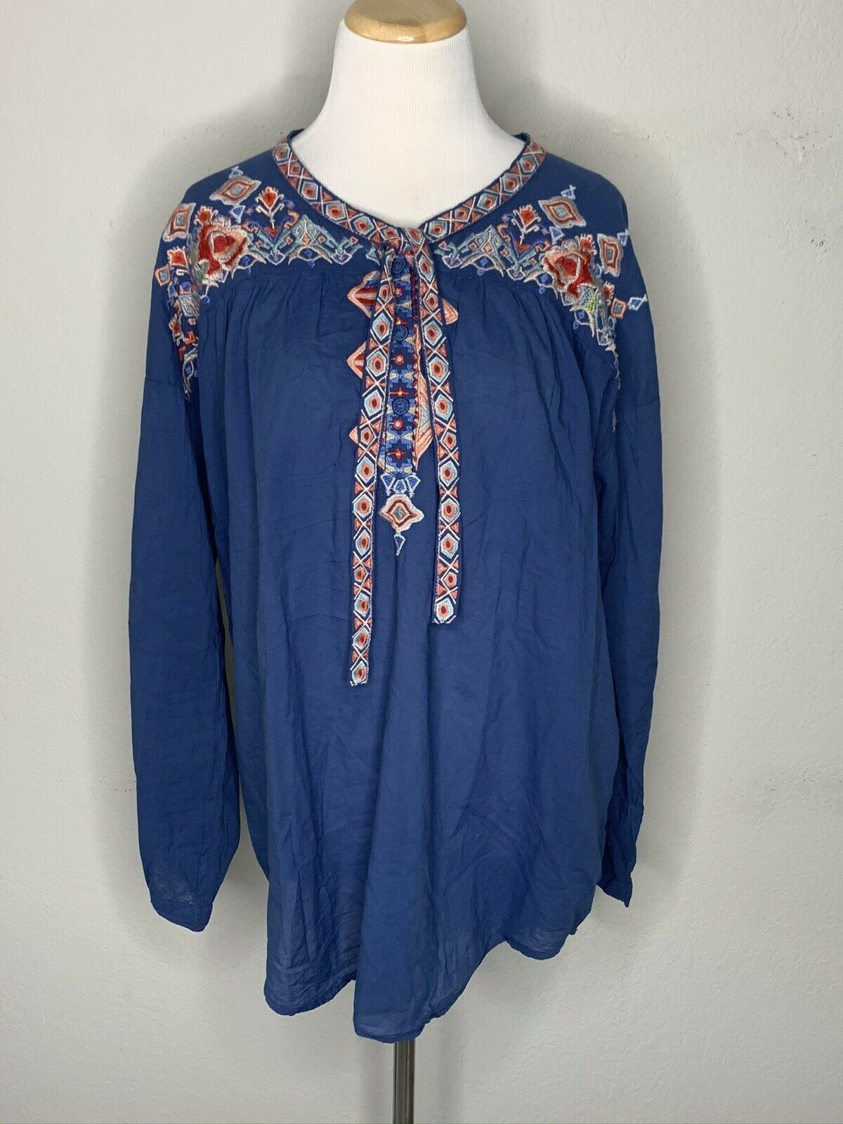 Primary image for Johnny Was Women's Gina Blouse Tunic Floral Boho Tie Top Blue $285 Sz M NWT