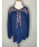 Johnny Was Women's Gina Blouse Tunic Floral Boho Tie Top Blue $285 Sz M NWT - $119.95