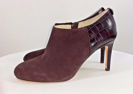 Michael Kors York Brown suede Bootie crocodile embossed The York size med - $89.09