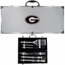 georgia bulldogs 8 pc tailgater stainless steel bbq set with metal case - $126.34