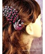 "Austrian Crystal Hair Claw Clip ""Serena"" Pink free organza bag - $16.75"