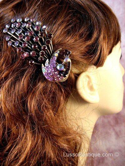"Austrian Crystal Hair Claw Clip ""Serena"" Purple FREE ORGANZA BAG"