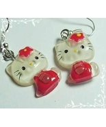 HELLO KITTY Red Clear Sitting Silver Earrings - brand new - $12.99